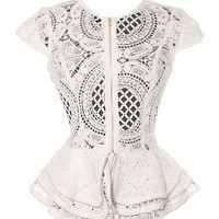 Perfect Angel Top | White Lace Zip Up Cap Sleeve Tops | RicketyRack.com
