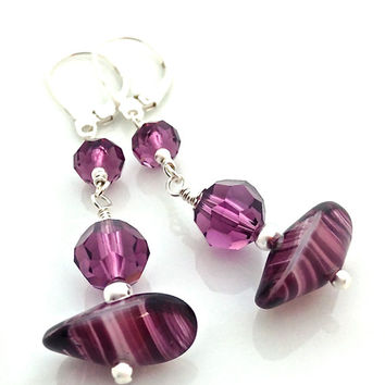 Purple Leverback Earrings for Women, Silver Funky Earrings, Purple Drop Earrings Silver