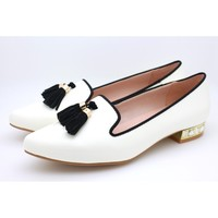 Patent Pointed Toe Flats (Ivory)