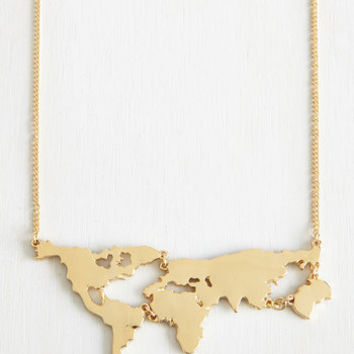 Travel, Statement, Quirky, Scholastic There's a Map for That Necklace in Gold by ModCloth