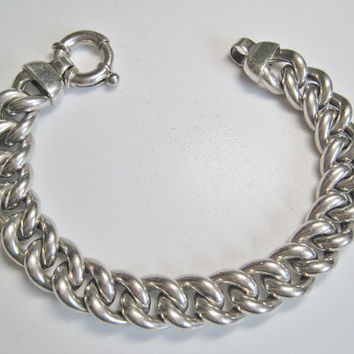 Vintage Chunky Chain Bracelet Milor Italy Sterling 8.5 Inches