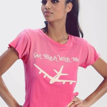 Wildfox Get High With Me Sleepover Tee in Mod Magenta