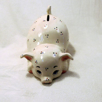 Ceramic Piggy Bank - Crimson Blue Green Dots