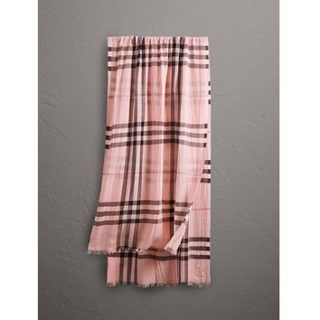 Burberry Lightweight Check Wool and Silk Scarf Pink rrp ?275 LF170 DD 09