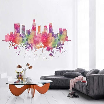 kcik1885 Full Color Wall decal Watercolor Los Angeles city skyline living room bedroom