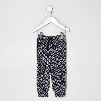Mini girls blue geo print joggers