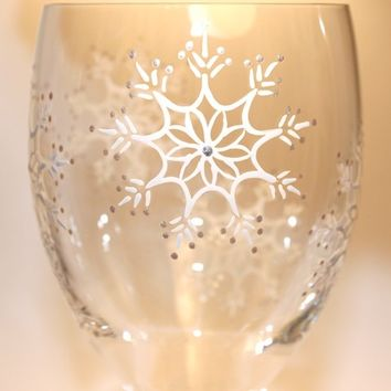 Snow Flurry Painted Wine Glass, Snowflake, Winter, Frost, Holidays, Personalized