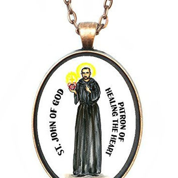 Saint John of God Patron of Healing the Heart Huge 30x40mm Handmade Antique Copper Pendant