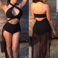 Black Sexy Cutout Bodysuit with Sheer Mesh Tail