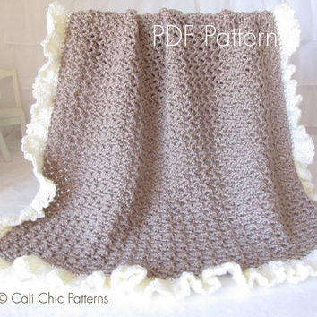 Crochet blanket PATTERN 91 - Chocolate Dream Baby Blanket Pattern - Crochet Symbol DIAGRAM 91 - Instant Download PDF Pattern