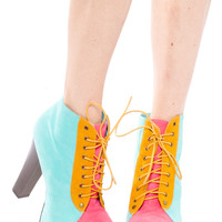 Foreign Exchange :: SHOES :: WOMEN :: HEELS :: MINT COLOR BLOCK PLATFORM BOOTIES
