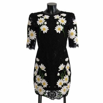 Dolce & Gabbana Black Floral Lace Chamomile Sicily Dress