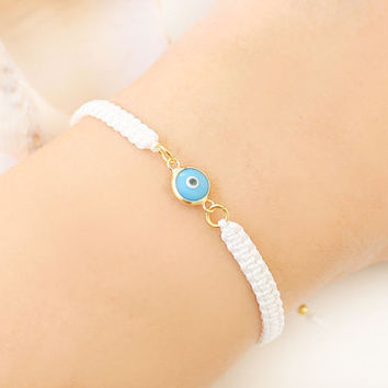 Turkish evil eye bracelet turquoise white macrame bracelet handmade istanbul turkey jewelry ethnic arabic best friend birthday gift