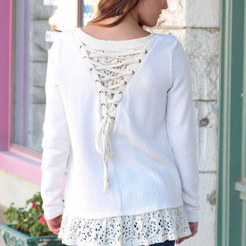 Split Lace + Tie Up Back Sweater {Natural}