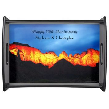Personalized Happy Anniversary Glowing Mountains Serving Tray