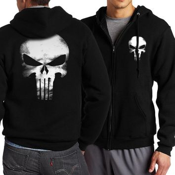 the punisher Skull hoodies men zipper fitness casual fleece jacket harajuku sweatshirts drake streetwear hoody homme S-5XL