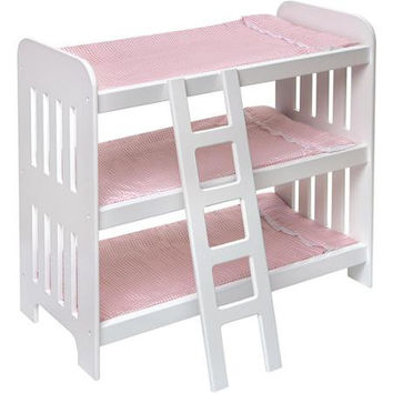 Badger Basket Triple Doll Bunk Bed with Ladder and Pink Gingham Mats, Fits Most 18 Dolls & My Life As""