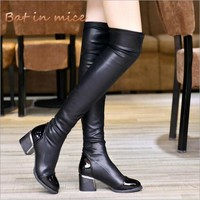 fashion women casual Square heel Over the Knee boots Shoes women Female winter warm High Heels pumps derss Snow Boots mujer W247