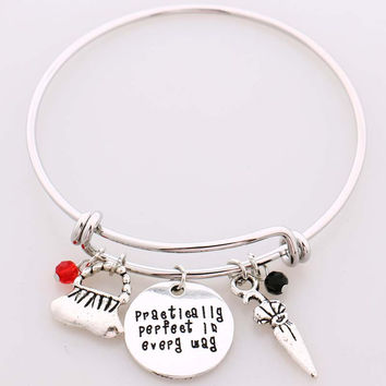 """Mary Poppins Bangle Bracelet""""Practically perfect in every day""""Hand Stamped Letter Bracelet the Handbag,Umbrella,Crystals Charms"""