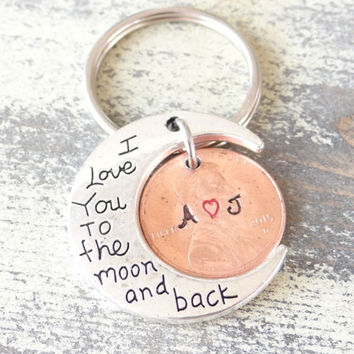 Custom Hand Stamped Anniversary Keychain, I love you to the moon and back