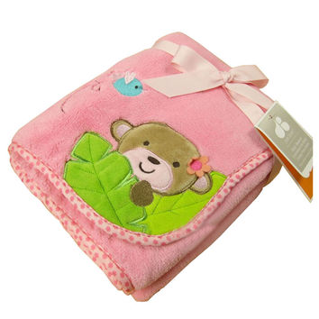 Cute Baby Thin Coral Fleece Blanket/ Infant Spring And Summer Quilt Monkey