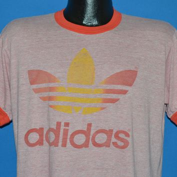 80s Adidas Trefoil Logo Red Rayon Heathered t-shirt Large