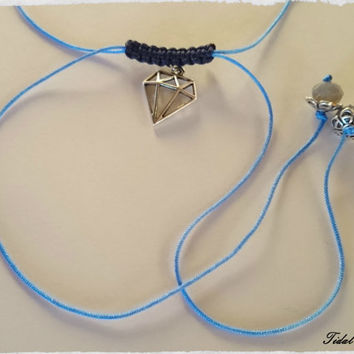 Blue necklace - diamond necklace - charm necklace - baby blue - simple necklace - necklace for woman - flower necklace - macrame necklace