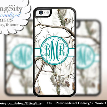 Snow Camo Turquoise Monogram iPhone 5C 6 Plus Case iPhone 5s 4 Cover Ipod White Realtree Personalized Country Inspired Girl