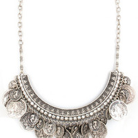 Coins on Coins Statement Necklace in Silver