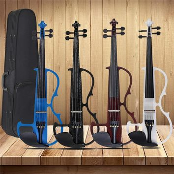 4/4 Acoustic Violin Basswood Panel Stringed Instruments Fiddle With Violin Case Bow Headphone Rosin Aluminum Alloy Strings