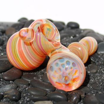 Rainbow Sherbet Honeycomb and opal sidecar style inside out color changing glass pipe