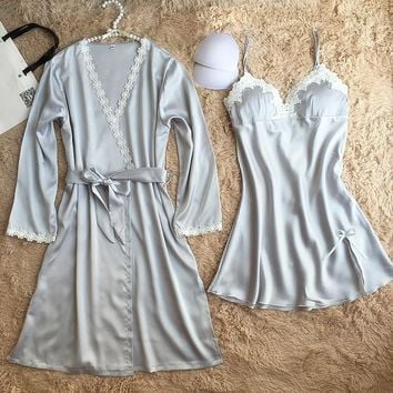 Brand robe sexy chemise de nuit vestidos de renda bathrobe + sleepdress peignoir women long silk robe & gown set gifts