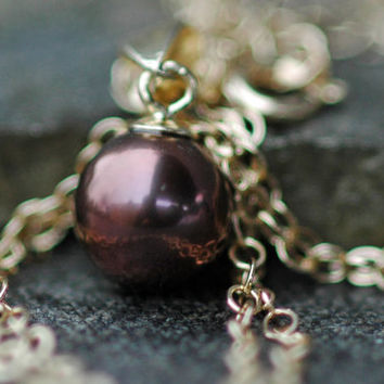 Chocolate Akoya Saltwater Pearl on 14k Yellow Gold Necklace
