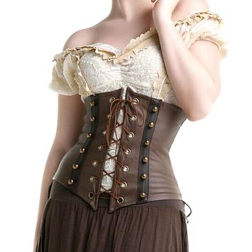Fashion Faux Leather Steampunk Sexy Underbust Waist Belt Corset Waist Trainer Brown Gothic Waist Cincher Shaper
