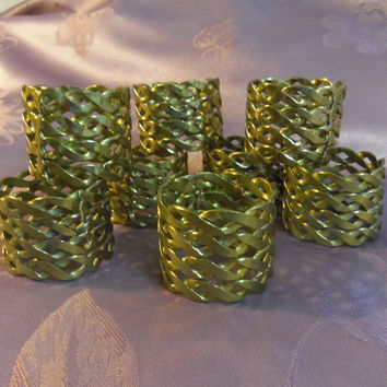 ON SALE 8 Brass Napkin Rings Braided metal 1.5 inches wide
