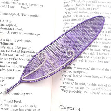 Bird Feather Bookmark, Wire Wrapped Purple And Ivory Feather Shaped Bookmark, Unique Bookmarks, Books, Book Gift Idea, Handmade Bookmark