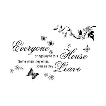"Modern Characters ""Everyone Home Leave"" Butterfly Wall Stickers Sticker Home Decor Diy Decals Decoration Black 39*57CM SM6"