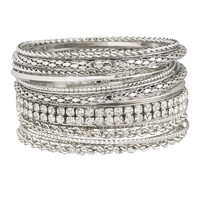 Silver-Colored Bangle Set - Gray