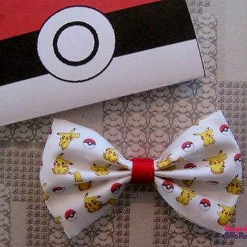 Pokemon Pikachu Hair bow/ Bow tie Handmade unique Geeky Kawaii Gamer Bow