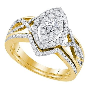 14kt Yellow Gold Women's Princess Diamond Oval Bridal Wedding Engagement Ring Band Set 7/8 Cttw - FREE Shipping (US/CAN)