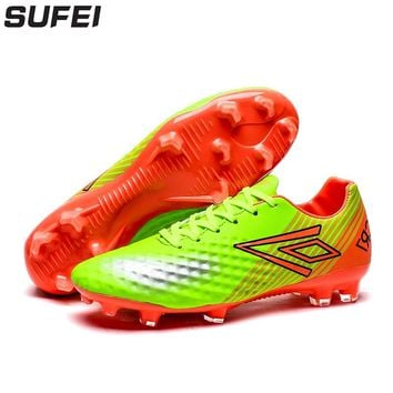 sufei Men Soccer Shoes Firm Groud Football Boots FG Superfly Low Ankle Outdoor Lawn Training Cleats Sport Trainers