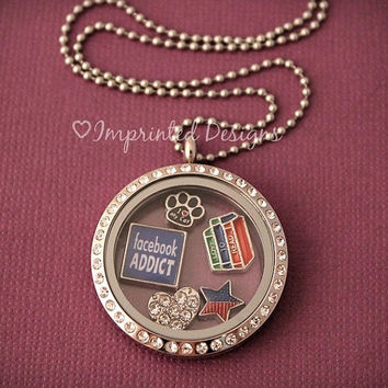 Facebook Addict Floating Charm / Living Locket Charm / Floating Locket Charm