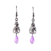 Hanging Bats Purple Bead Drop Earrings