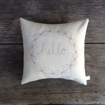geometric word pillow cover, hello, thank you gift, housewarming, decorative, natural cotton, modern wreath, MADE TO ORDER mamableudesigns