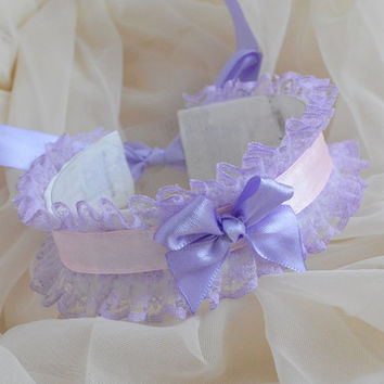 Elven princess - fairy kei kawaii cute lolita neko kitten pet play - white lavender violet and pink lace collar