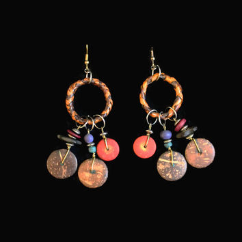 Boho Wood Bead Earrings, Ethnic Earrings, 1980's Earrings, Tribal Earrings