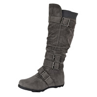 Womens Knee High Boots Ruched Leather Buckles Knitted Calf Gray SZ