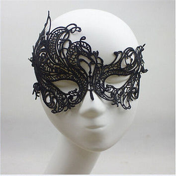 Sexy Lace Eye Mask Venetian Masquerade Halloween Ball Party Fancy Dress Costume (Color: Black) = 1946274372