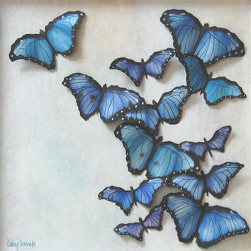 Butterflies 3D Painting - Blue Butterflies Original Wall Art