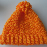 Crochet Baby Hat - 3 to 6 Months - Orange - Mango - Ready to Ship